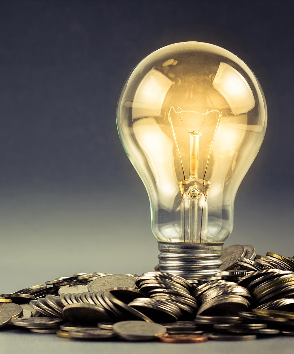 lightbulb with coins